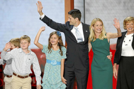 Republican vice presidential nominee Rep. Paul Ryan waves with his family after he accepted the nomination during the third sess