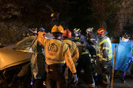 Herido grave tras una aparatosa salida de vía en Madrid