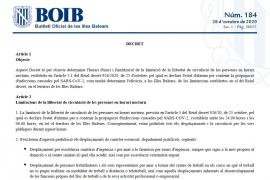 El BOIB ya publica el nuevo horario del toque de queda