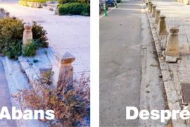 Hierbas en las vías de Palma: antes y después del paso de Emaya