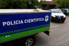 A scientific police vehicle carrying the body of Argentine great Diego Maradona leaves the house where he was staying