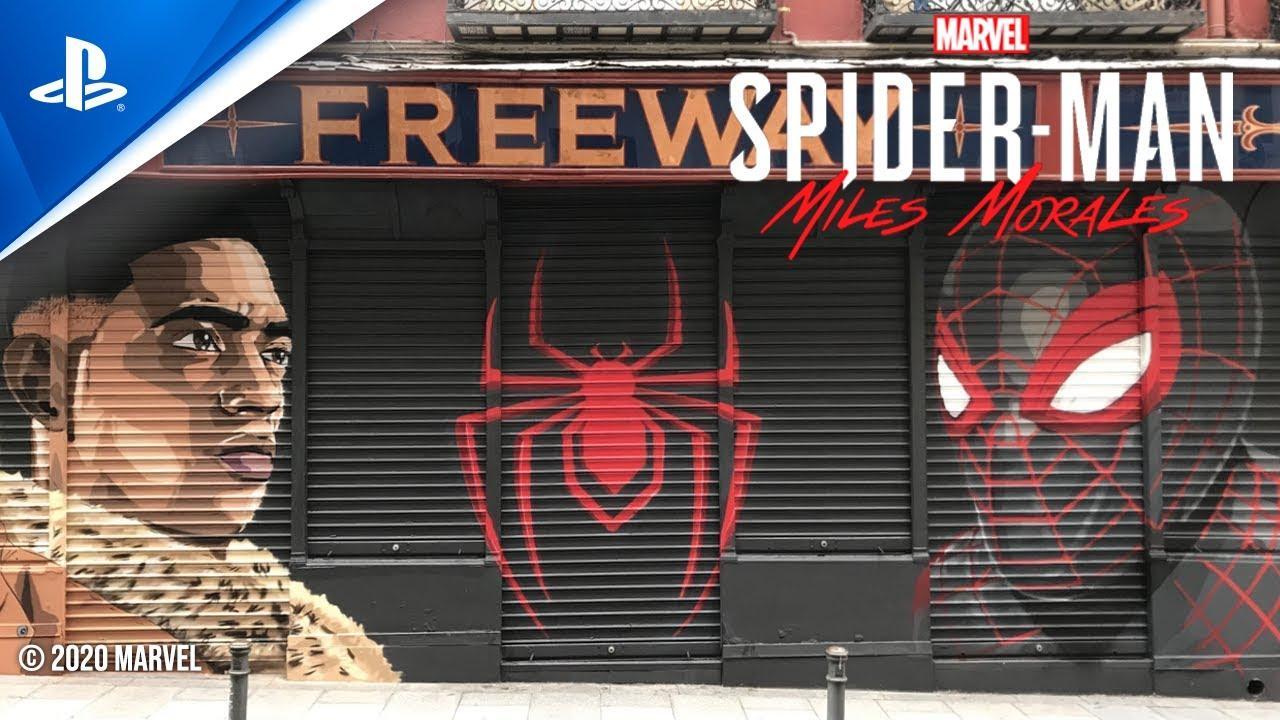 El mural de arte urbano de Marvel's Spider-Man: Miles Morales en Madrid