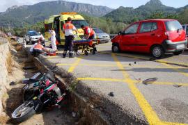 Herido crítico un motorista tras sufrir un accidente en la carretera de Sóller