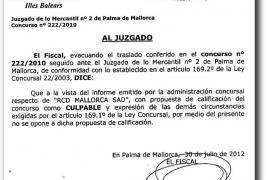 El Mallorca y la Fiscalía dan su conformidad al informe que culpa a Grande del concurso