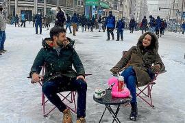 Mallorquines en la nevada de Madrid