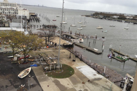 The damage to Sheepshead Bay is seen in the aftermath of Hurricane Sandy in Brooklyn