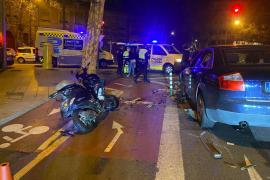 Un conductor ebrio arrolla a un motorista frente al instituto Joan Alcover de Palma