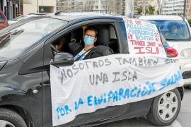 Un sanitario, durante la manifestación del pasado día 14 para reclamar la equiparación con Canarias en el plus de residencia