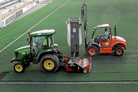 palma deportes obras de acondicionamiento del cesped en el estadio ba