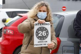La protesta de los interinos en Ibiza, en imágenes. (Fotos: Irene Arango)