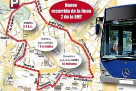 La EMT cambia el recorrido de la línea 2 y pasará por el párking de sa Riera