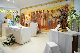 Un momento de la misa oficiada ayer en honor a la Virgen de Puig d'en Valls