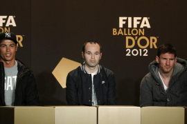 FIFA Men's World Player of the Year 2012 nominees Ronaldo, Iniesta and Messi address a news conference in Zurich