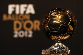 The FIFA Men's Ballon d'Or trophy of the Year 2012 is seen during a news conference before the FIFA Ballon d'Or 2012 soccer awar