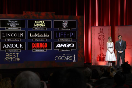 Hosts Stone and MacFarlane read the Best Picture nominees at the 85th Academy Awards nominee announcements in Beverly Hills, Cal
