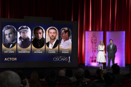 Hosts Stone and MacFarlane read the Best Actor nominees at the 85th Academy Awards nominee announcements in Beverly Hills, Calif