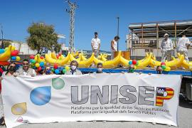 Representantes de todos los sindicatos que forman la plataforma participaron en la tercera gran movilización en Baleares