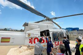 Salud realiza un simulacro de incendio en el helipuerto del hospital de Can Misses