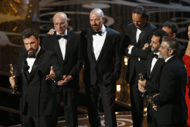 Ben Affleck, Grant Heslov and George Clooney accept the award for best motion picture for Argo at the 85th Academy Awards in Hol