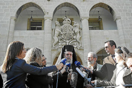 Cyprus Orthodox Archbishop Chrysostomos makes statements after a meeting with President Anastasiades, in Nicosia