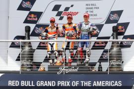Marc Márquez logra su primera  victoria en MotoGP por delante de Pedrosa y Lorenzo