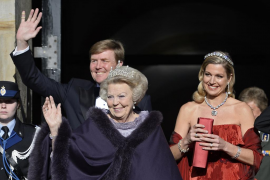 Queen Beatrix of the Netherlands, Crown Prince Willem-Alexander and his wife leave the Royal Palace in Amsterdam
