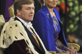 Dutch King Willem-Alexander and his wife Queen Maxima attend a religious ceremony at the Nieuwe Kerk church in Amsterdam
