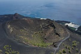 An aerial view of San Antonio Volcano in the foreground and Teneguia Volcano in the background on the Canary Island of La Palma