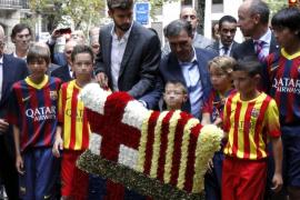 La lluvia desluce la ofrenda floral de la Diada de Cataluña