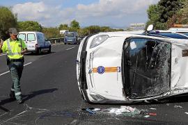 Tres vehículos implicados en un accidente en la autovía de Llucmajor