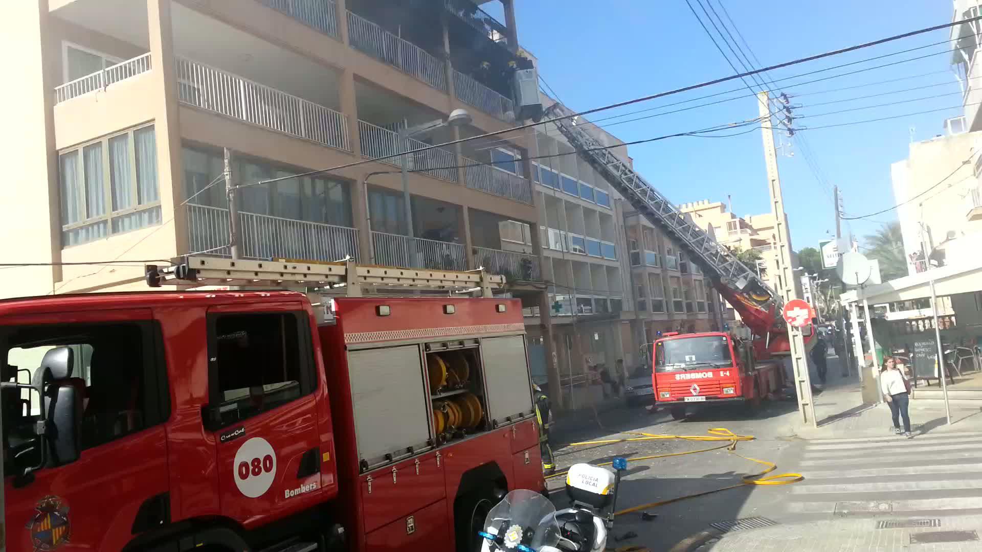 Incendio en un edificio de s'Arenal