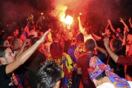 Palma celebra la victoria del Barça en la calle