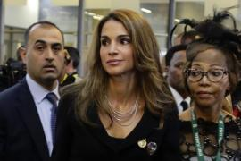 Jordan's Queen Rania arrives for the service for former South African President Nelson Mandela
