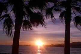 Puesta de sol en la playa de Can Pere Antoni