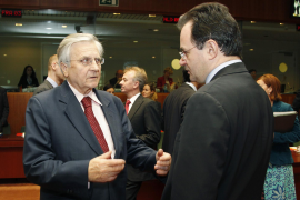 ECB President Trichet and Greek Finance Minister Papaconstantinou attend an EU finance ministers meeting in Brussels