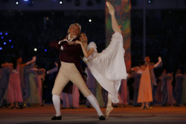 Ballet dancer Svetlana Zakharova performs during the opening ceremony at the 2014 Sochi Winter Olympics