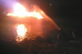 Arde una embarcación en Sa Ràpita
