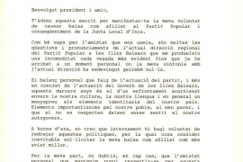 Carta de renuncia al PP de Cristòfol Soler