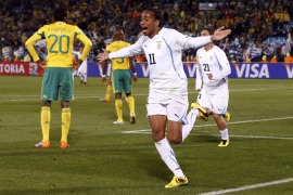 Uruguay's Alvaro Pereira celebrates his goal in Pretoria