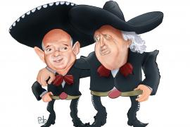 Caricatura de los directivos del Real Mallorca, Llorenç Serra Ferer y Jaume Cladera vestidos de mariachis.
