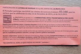 Transparencia por Calvià reparte lotería gratis para promocionarse