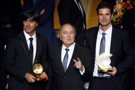 Joachim Loew, Joseph Blatter y Ralf Kellermann
