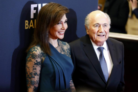 FIFA President Blatter and Barras arrive for the FIFA Ballon d'Or 2014 soccer awards ceremony at the Kongresshaus in Zurich