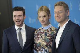 Director Branagh and actors Madden and James pose during photocall at 65th Berlinale International Film Festival in Berlin