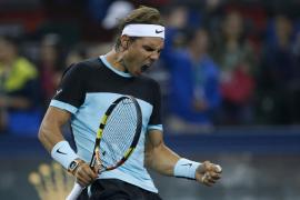 Rafel Nadal celebra su victoria ante Karlovic