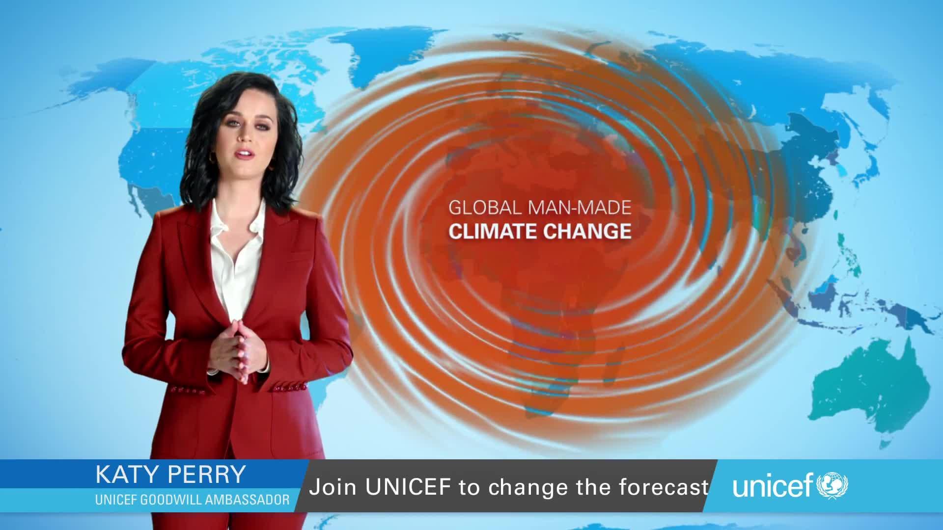 Katy Perry advierte del peligro del cambio climático en un vídeo para Unicef