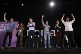 Euforia en Podem tras el mitin de Pablo Iglesias en el Palma Arena