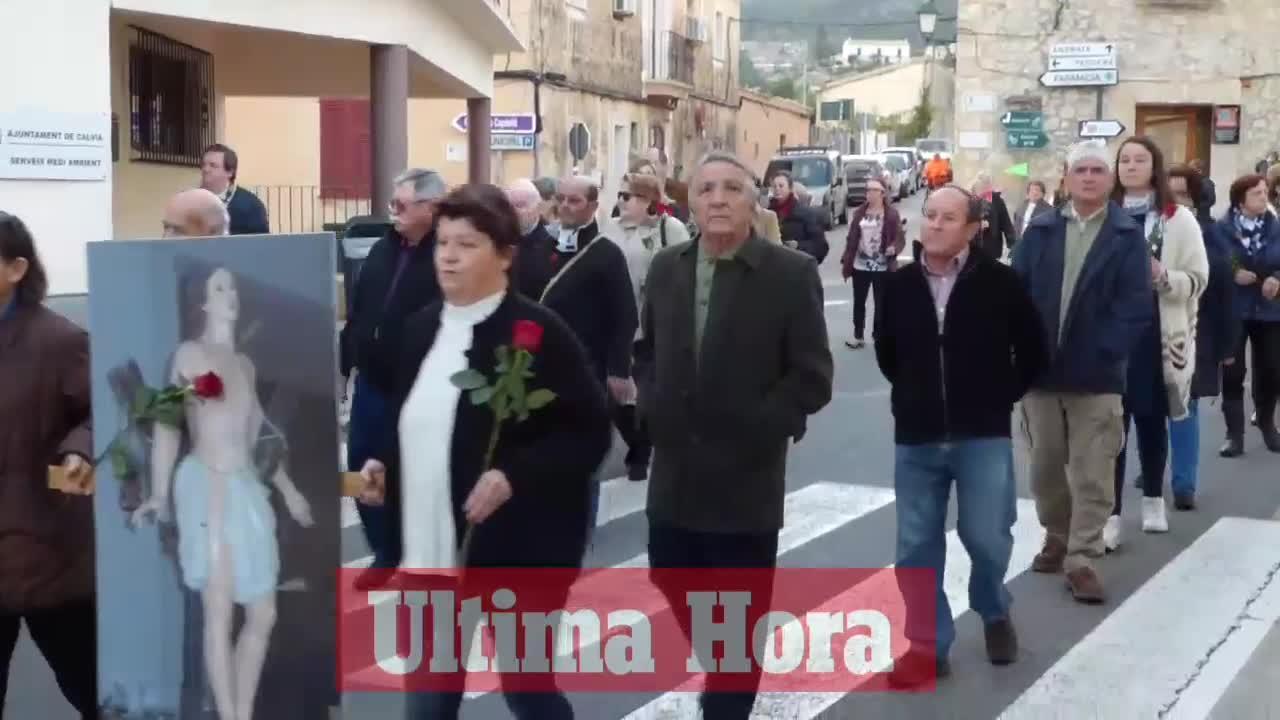 Una foto sustituye a la imagen de Sant Sebastià en la procesión de es Capdellà