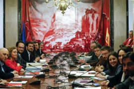 Reunión de PSOE, Podemos, IU y Compromís