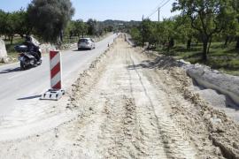 Las obras de la carretera Selva-Campanet están paradas desde antes de Navidad